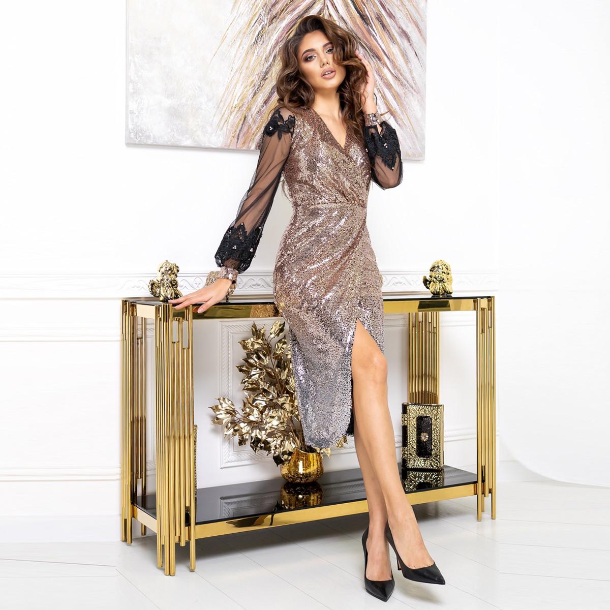 """Платье золотое вечернее, новогоднее пайетки """"ASTORIA"""""""