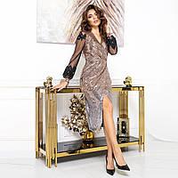 """Сукня золоте вечірній, ошатне паєтки """"ASTORIA"""", фото 1"""