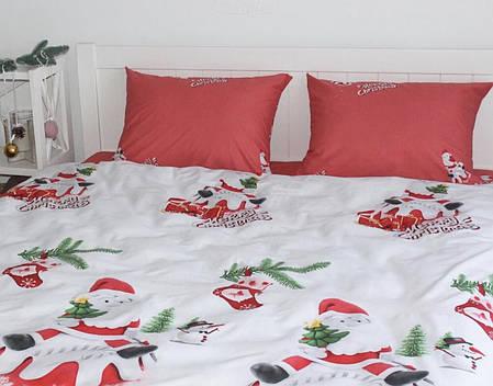 Новогоднее постельное белье Санта комплект полуторный, фото 2