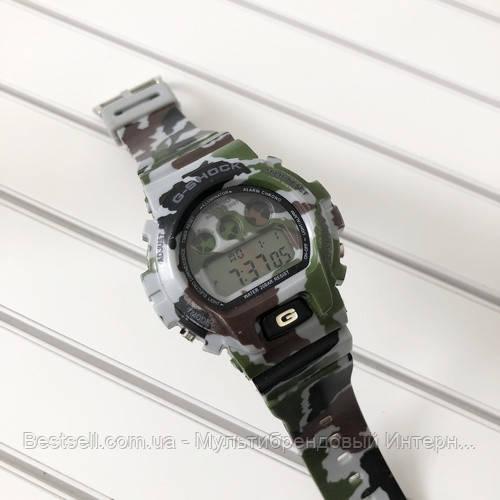 Часы наручные хаки Casio G-Shock DW-6900 Militari Gray / касио джишок хаки зеленые с серым
