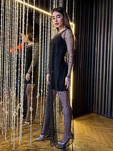 Вечернее платье с сеткой расшитой бусинами 42-46 р