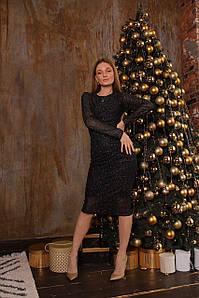 Стильное женское платье с сеткой и блестками 42-46 р