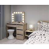 Туалетный Столик косметический трюмо с большим зеркалом с подсветкой МДФ ламинированной с двух сторон сонома, фото 5