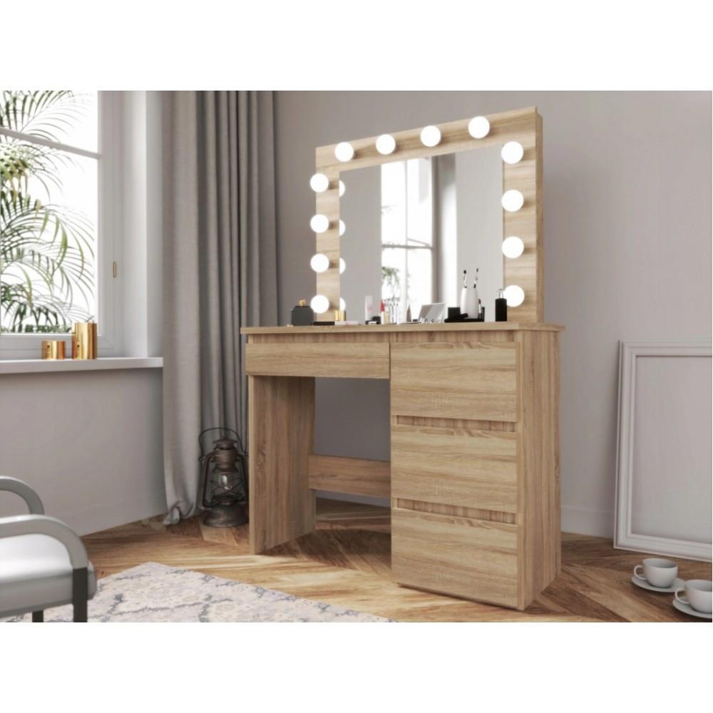 Туалетный Столик косметический трюмо с большим зеркалом с подсветкой МДФ ламинированной с двух сторон сонома