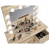 Туалетный Столик косметический трюмо с большим зеркалом с подсветкой МДФ ламинированной с двух сторон сонома, фото 4