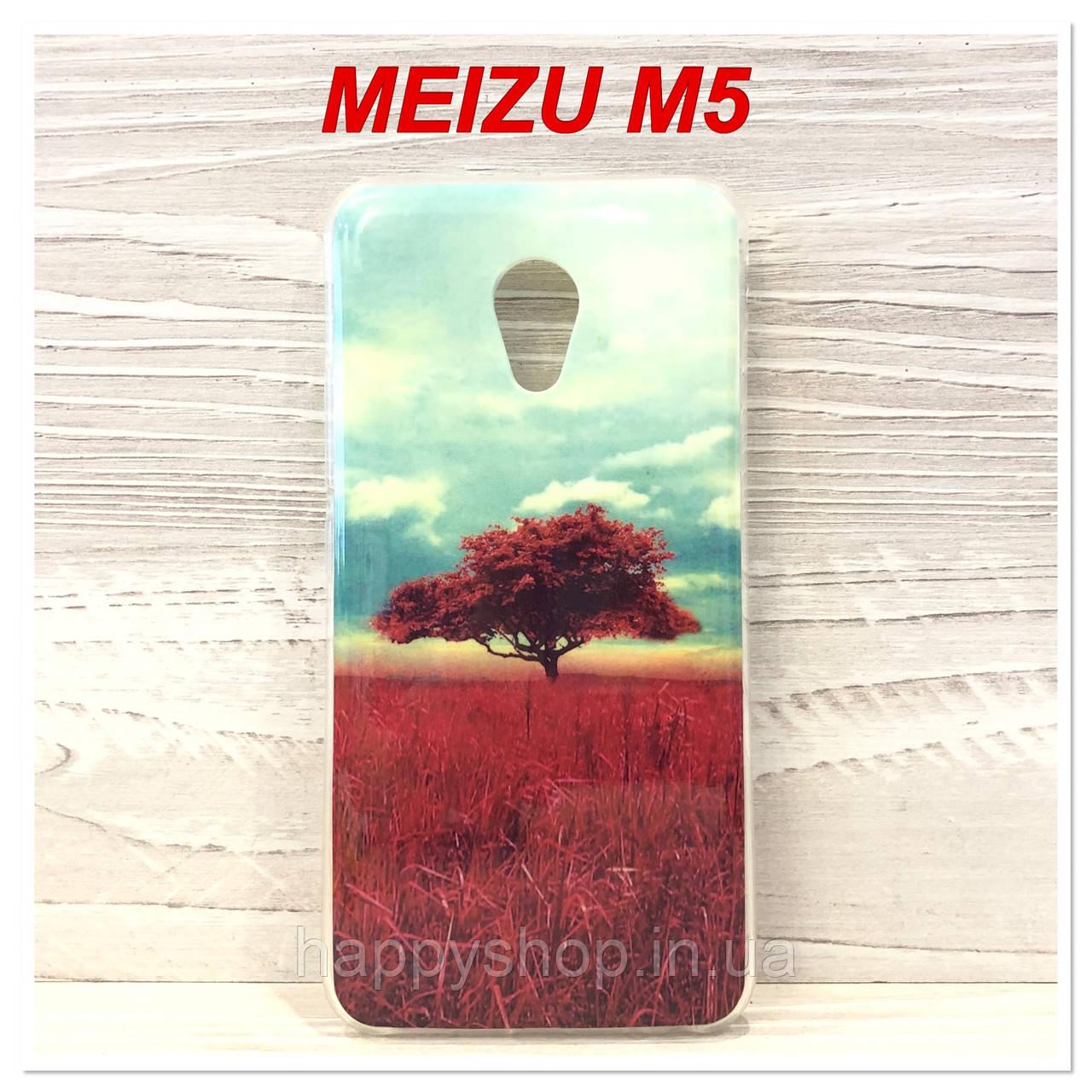 Силиконовый чехол с рисунком для Meizu M5 (Red Tree)