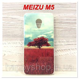 Силиконовый чехол с рисунком для Meizu M5 (Red Tree), фото 2