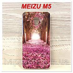 Силиконовый чехол с рисунком для Meizu M5 (Flower Road)