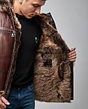 Дубленка мужская из натурального меха и кожи коричневая с капюшоном. Мех овчина. Турция, фото 3