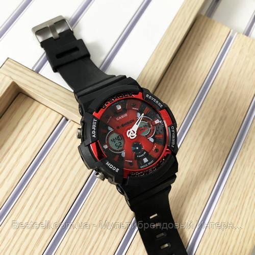 Часы наручные черные Casio GA-200 Black-Red / касио джишок черные с красным