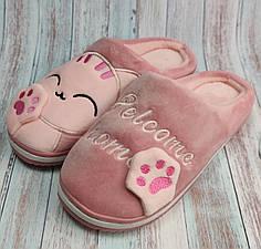 Домашние теплые женские комнатные тапочки для девочки тапки розовые котик 40-41р 24.5-25см