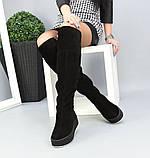 Зимние черные замшевые ботфорты на платформе, фото 7