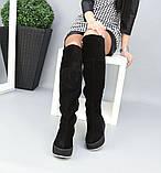 Зимние черные замшевые ботфорты на платформе, фото 6