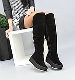 Зимние черные замшевые ботфорты на платформе, фото 2