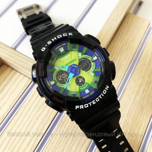 Часы наручные черные Casio GA-120 Black-Blue-Light Green / касио джишок черные