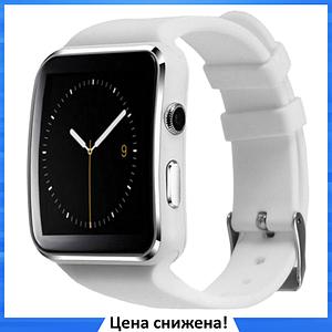 Умные часы Smart Watch X6 white - смарт часы со слотом под SIM карту Белые
