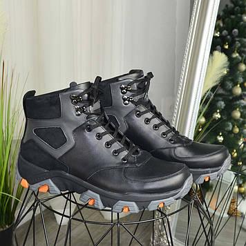 Ботинки мужские комбинированные на шнуровке. Цвет черный/серый