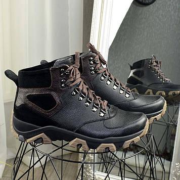 Ботинки мужские комбинированные на шнуровке. Цвет черный/коричневый