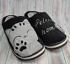 Домашние теплые комнатные тапочки женские для девочки тапки черные котик 40/41р 24.5-25см, фото 2