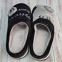 Домашние теплые комнатные тапочки женские для девочки тапки черные котик 40/41р 24.5-25см, фото 3