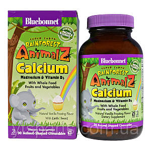 Кальций Магний & Витамин D3 для Детей, Rainforest Animalz, Bluebonnet Nutrition, Вкус Ванили, 90 жевательных