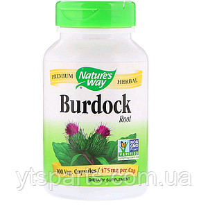 Корень Лопуха, Burdock Root, Nature's Way, 475, 100 капсул