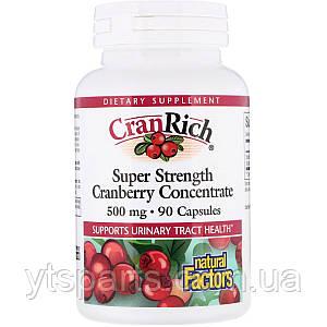 Клюквенный супер концентрат, CranRich, Natural Factors, 500 мг, 90 капсул