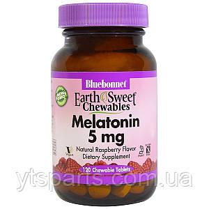 Мелатонин 5мг, Вкус Малины, Earth Sweet Chewables, Bluebonnet Nutrition, 120 жев. табл.