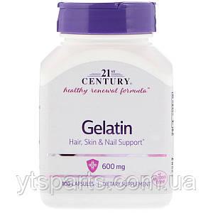 Желатин, 21st Century, Gelatin, 600 мг, 100 капсул