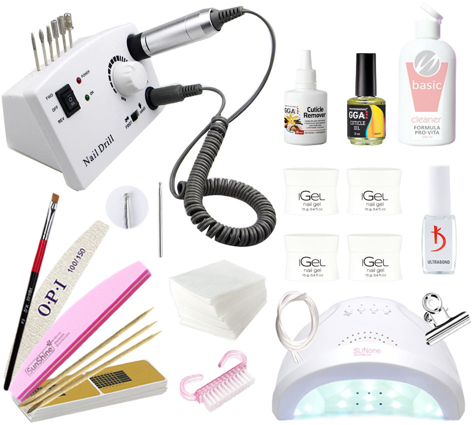 Стартовый набор для наращивания iGeL с лампой UV/LED Sun One 48 и фрезером DM-211