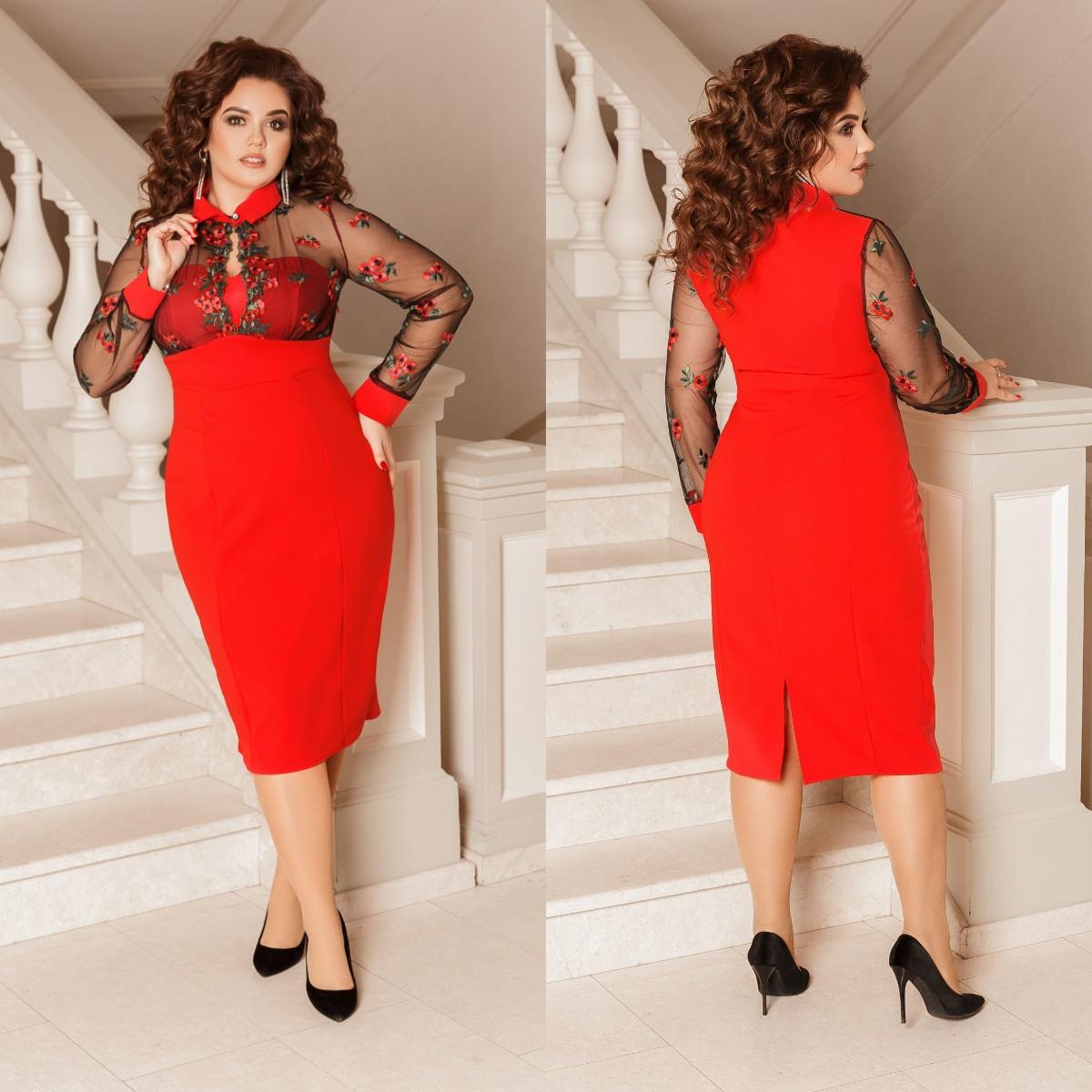 Приталенное платье с цветочной аппликацией, красный, №179, 48-58 р.