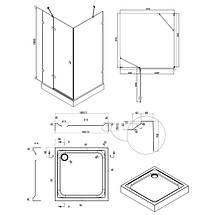 Душова кабіна квадратна без піддона 100х100 Q-TAP Capricorn, фото 3