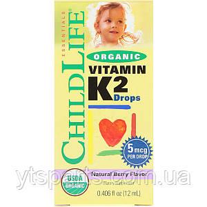 Органический Витамин K2 в Каплях, Ягодный вкус, ChildLife, 12 мл