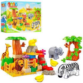 Конструктор JDLT 5031 (18шт) зоопарк, животные5шт, 43 дет, в кор-ке, 38,5-28,5-9см