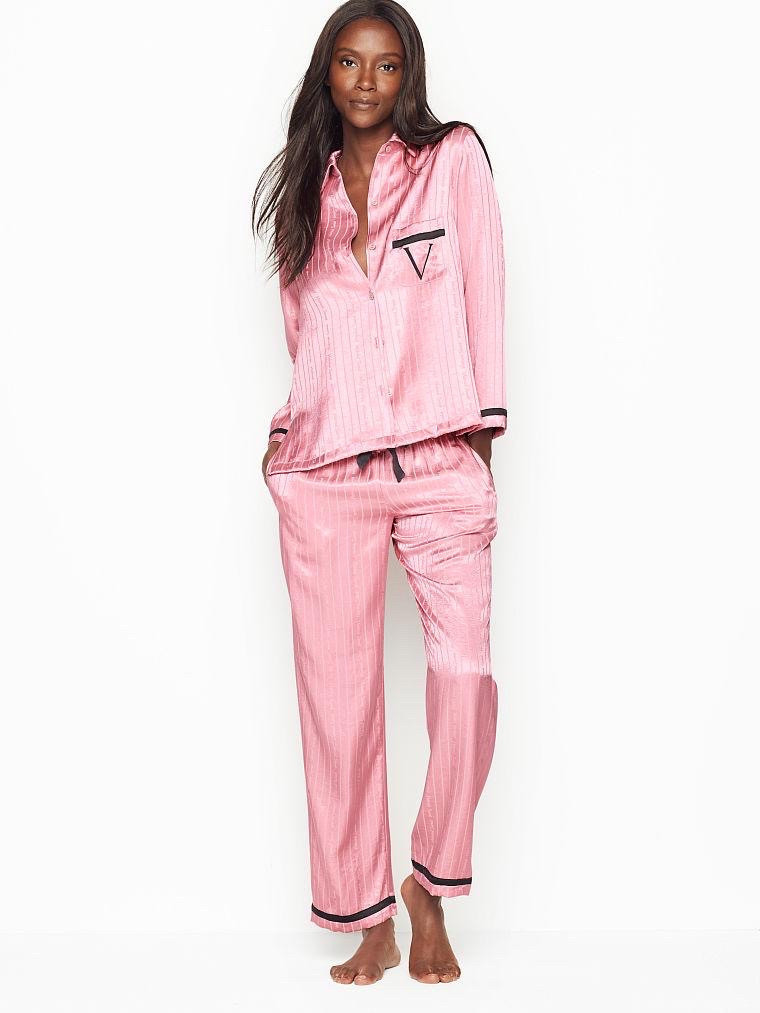Сатиновая пижама Victoria's Secret The Satin PJ Set р. L, Розовая в полоску