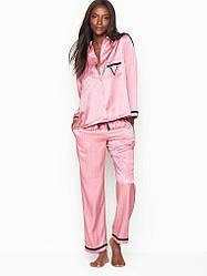 Сатинова Піжама Victoria's Secret The Satin PJ Set р. L, Рожева в смужку