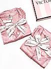 Сатиновая пижама Victoria's Secret The Satin PJ Set р. L, Розовая в полоску, фото 5