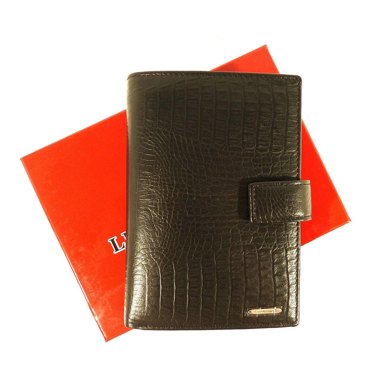 Кошелек кожаный обложка для документов черный Lison Kaoberg 35011