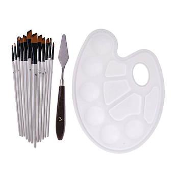 Набор художника 16 элементов: кисти, мастихины, палитра пластиковая овальная