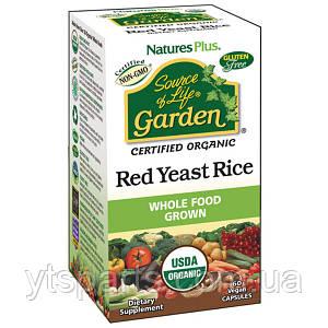 Органический Красный Дрожжевой Рис, Source of Life Garden, Natures Plus, 60 гелевых капсул