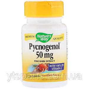 Пикногенол, Экстракт Сосновой Коры, Pycnogenol, Pine Bark Extract, Nature's Way, 50 мг, 30 Таблеток