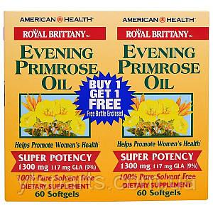 Масло Вечерней Примулы, Evening Primrose Oil, American Health, 1300 мг, 2 флакона, 60 капсул