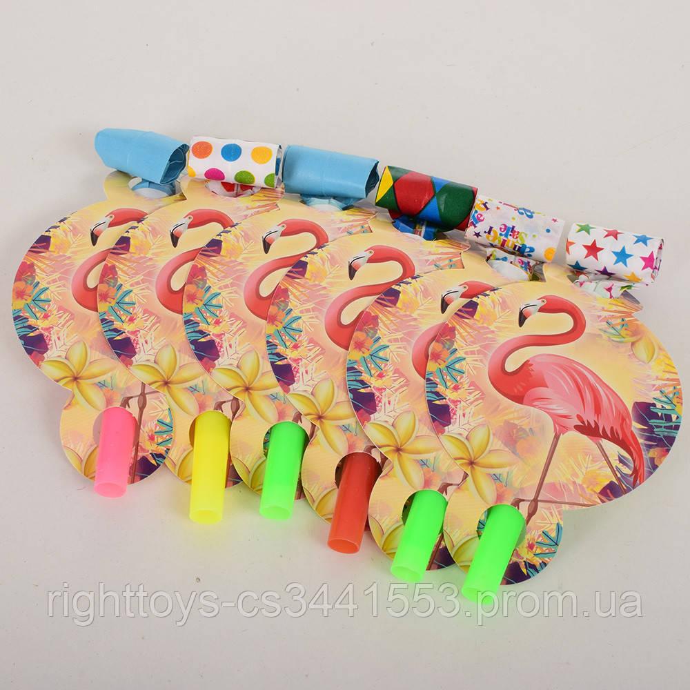 Аксессуары для праздника MET10152-3 (300шт) дудка, фламинго, 6шт, 13см, в кульке, 21-19-1,5см