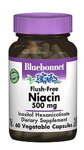 Ниацин без инфузата (В3) 500мг, Bluebonnet Nutrition, 60 гелевых капсул