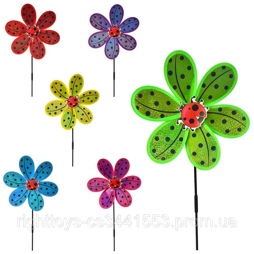 Вітрячок M 6027 (200шт) розмір середній,діам.28см,палочка50см, квітка,6цветов,в кульку,28-28-2см