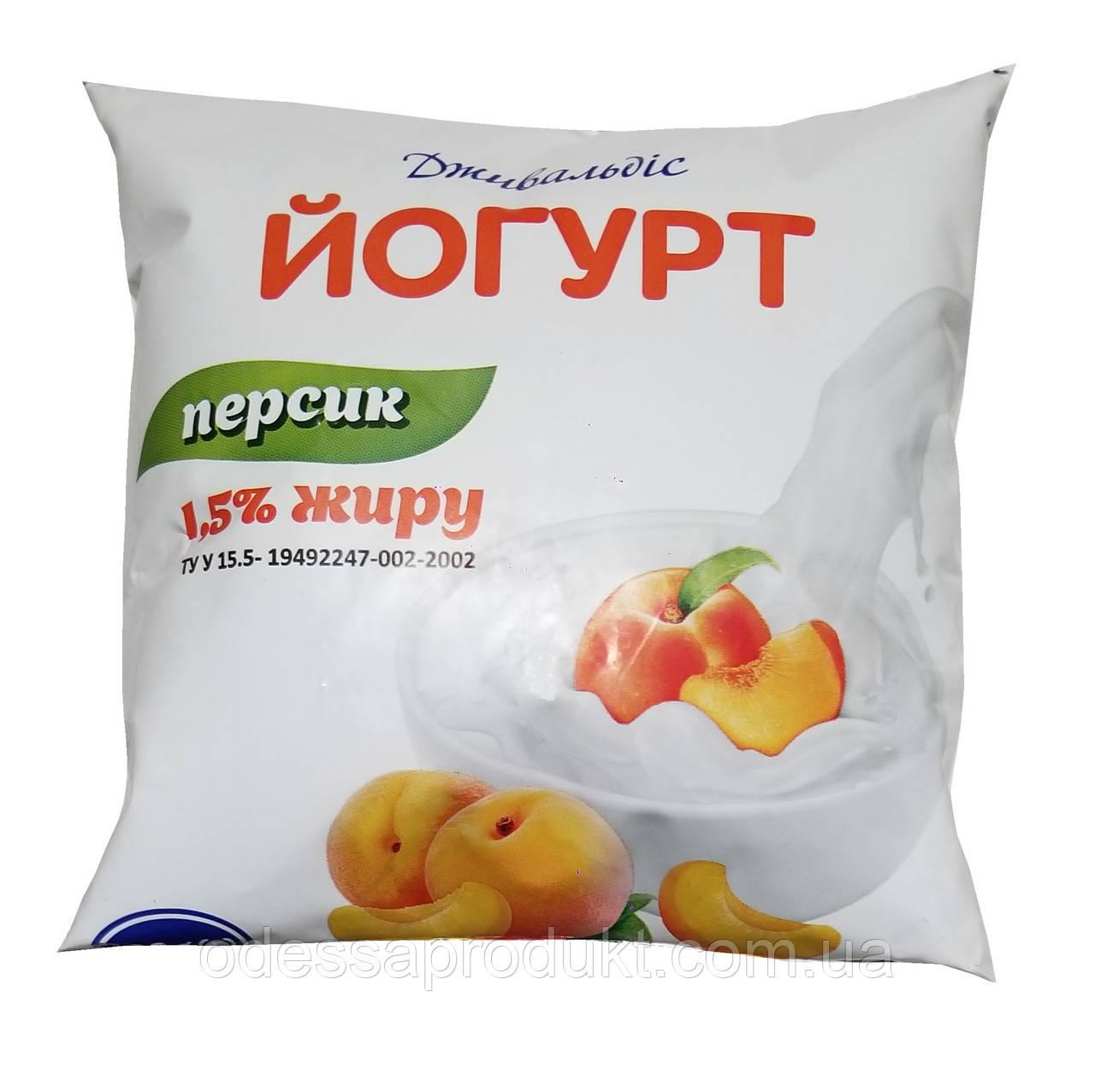 Йогурт 400 г Дживальдис 1,5% персик п/е