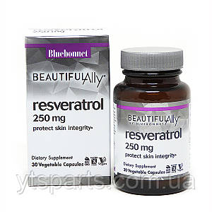 Ресвератрол 250 мг, Beautiful Ally, Bluebonnet Nutrition, Resveratrol 250 мg, 30 растительных капсул