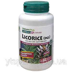 Лакрица 500мг, Herbal Actives, Natures Plus, 60 гелевых капсул