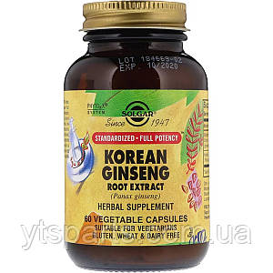 Корень Женьшеня (Экстракт), Korean Ginseng Root Extract, Solgar, 60 капсул