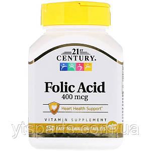 Фолиевая кислота, 400 мкг, 21st Century, 250 таблеток